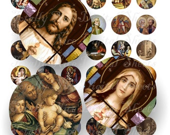 Craft supplies Scrapbooking Digital collage sheet Catholic vintage religious color images Round 1 X 1 inches No 41010328