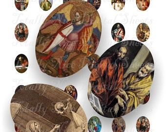 Craft supplies Scrapbooking Digital collage sheet Catholic vintage religious color images Oval 18 X 25 mm No 51825330