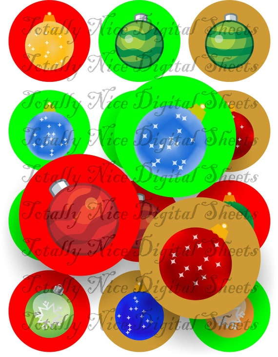 Craft supplies Scrapbooking Digital collage sheet Christmas balls color images Round 2,5 X 2,5 inches 42525111
