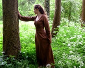 MADE TO ORDER : Brown linen pagan Avalon dress with waist band / belt. maxidress historical priestess woodland fairy witch pagan