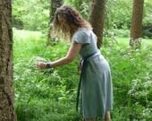 MADE TO ORDER: Linen pagan Druïd dress empire waist Gown wrap dress historical priestess woodland fairy witch hippie boho