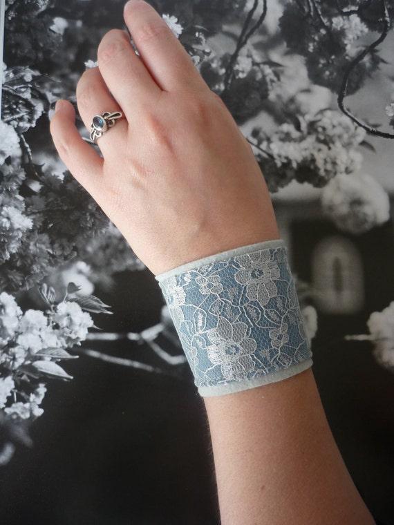 Romantic lace iceblue blue felt wristband cuff bracelet. Bridal bride victorian lolita pixie goth burlesque flower. Size small and large