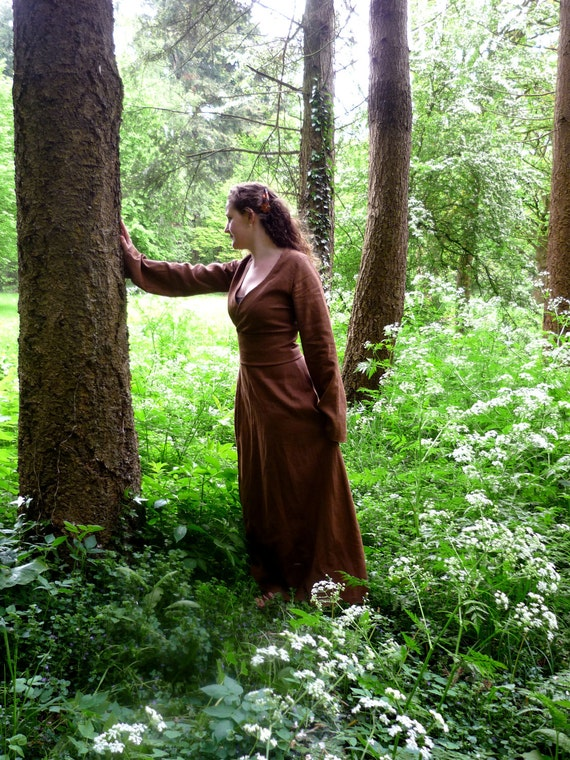 MADE TO ORDER  from August'16 Brown linen pagan Avalon dress with waist band / belt maxidress historical priestess fairy witch pagan