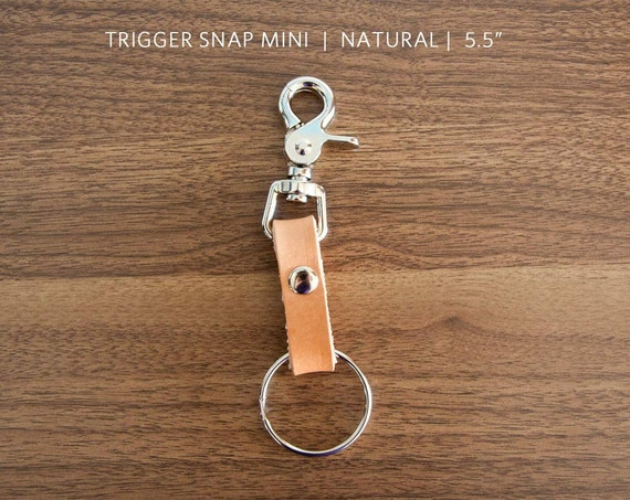 "TRIGGER SNAP MINI - natural - 5.5"" - leather - nickel, keychain"