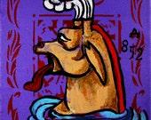 "A 852, 2010 Original Acrylic on Canvas 6""x6"""