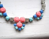 SALE - Hand Painted Vintage Rhinestone Necklace