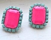 Neon Pink Hand Painted Vintage Rhinestone Earrings