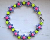 SALE - Hand Painted Neon Vintage Floral Rhinestone Bracelet