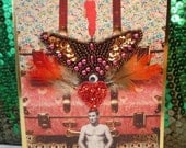 Hunk Totem Collage Card. Mixed media art.
