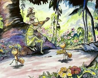 Childrens Decor - The Ant and the Grasshopper - giclee art print