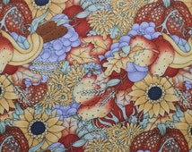 Harvest Medley Fabric, Debbie Mumm for SSI, Pumpkins, Pears, Cattails and Sunflowers, Fabric by the Yard