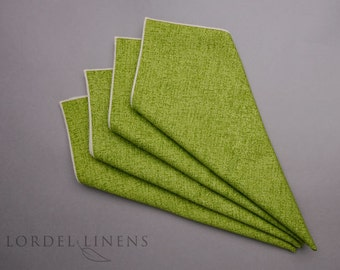 "Lime Napkins Linen Look Set of 4 Cloth Dinner Napkins 18"" Square Home Decor Table Accents"