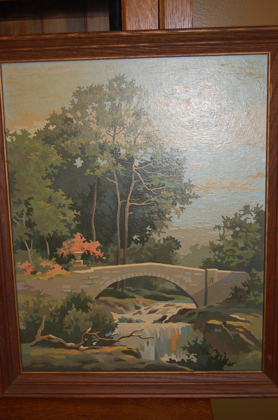 Vintage paint by number with wood frame