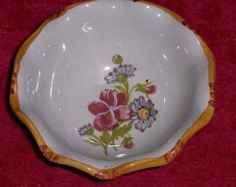 Vtg Miniature Hand Painted Bowl Italy Ceramic Clay Pottery Floral Assisi Italian Dish Plate