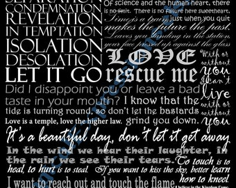 U2 Band Typography Song Lyric Art Print 11 by 14