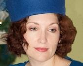 Pillbox Hat Royal Blue with organza trim.