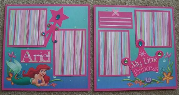 "Disney Princess: Ariel 12 x 12""  Premade Scrapbook Pages"