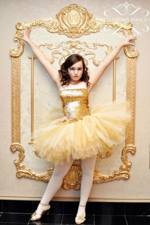Teen Adult Medium - Large - GOLD SEQUIN - Green -Strapless Tube Top & Tutu Skirt  - PROM Dress