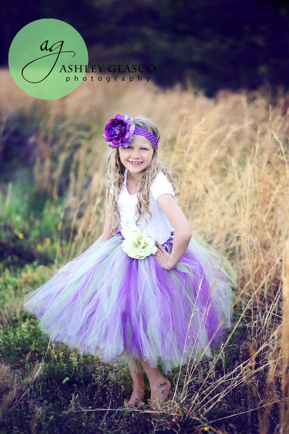 Toddler Size 2T - 4T Lilac and Margarita - Purple and Lime - Long Tutu Skirt - Wedding - Ballet - Photo Shoot