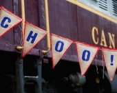 Upcycled CHOO CHOO Burlap Banner (Blue with Red felt backing) Eco-Friendly Home Decor for Train Enthusiast