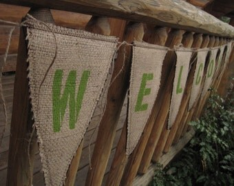 Upcycled WELCOME Burlap Banner (with green letters & brown felt backing) - Eco-Friendly Home Decor
