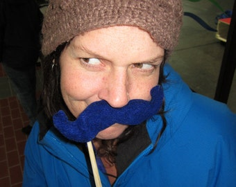 Upcycled Steampunk Felt Handlebar Mustache on a Stick Set of 5 (Royal Blue) - Movember Movement