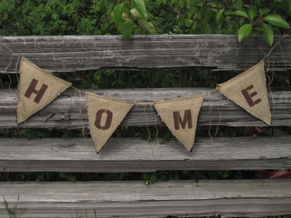 Upcycled HOME Burlap Banner (with brown felt backing) - Eco-Friendly Home Decor