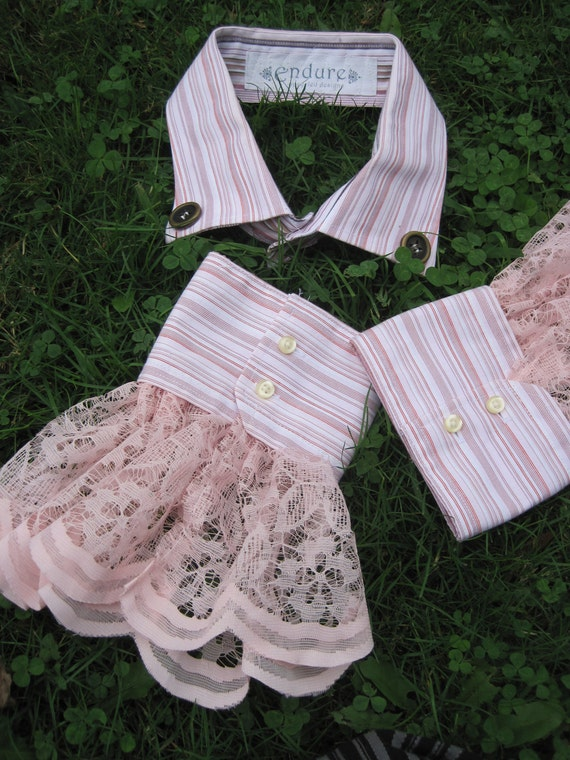 Upcycled Steampunk Clothing - Shirt Collar and Cuffs Light Pink with Pink Lace Trim - Med Hatter - Alice in Wonderland