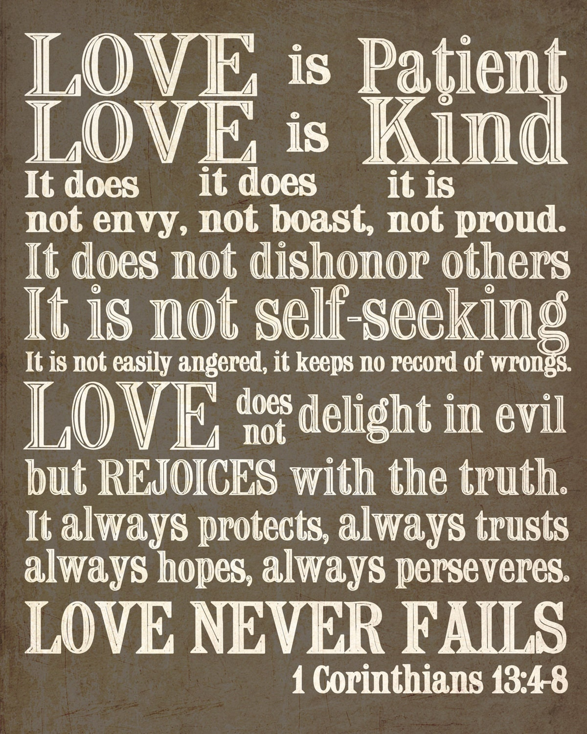 8x10 Print. 1 Corinthians 13. Love is Patient...