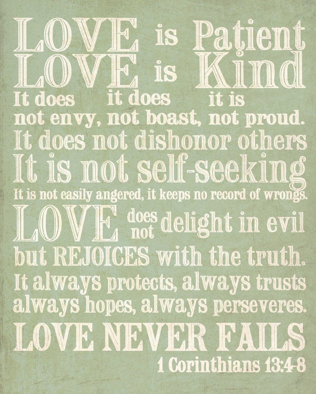 8x10 Print. 1 Corinthians 13. Love Is Patient
