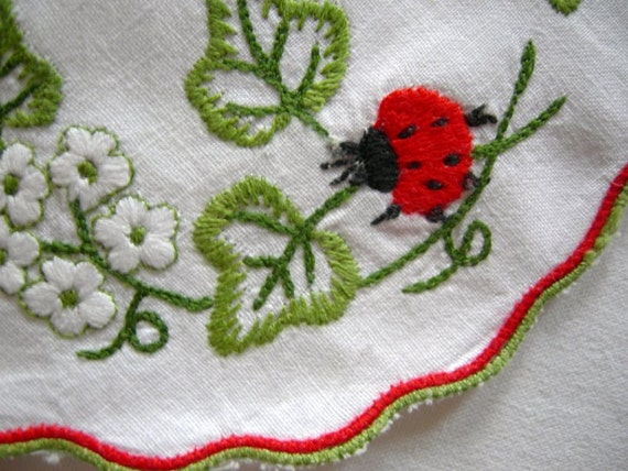 Lovely small Vintage  Spring Ladybug Doily Table Linen / Table Topper