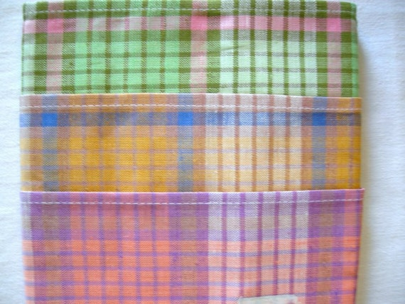 Lovely Set of 3 Pieces German Vintage Checked  Kitchen Dish towel Half-Linen / new and unused