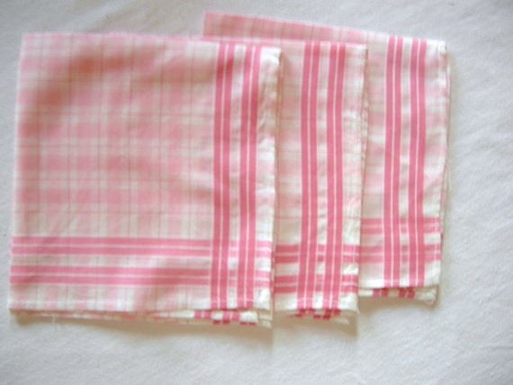 Collection Set of 3 new unused german pink  and white checked / checkboard cotton handkerchiefs