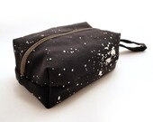 Screen printed pouch: Galaxy dark grey zippy box purse