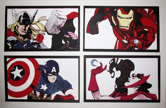 Avengers LAST COPY Iron Man Thor Captain America Scarlet Witch Pop Art Lichtenstein hand-pulled silkscreen print