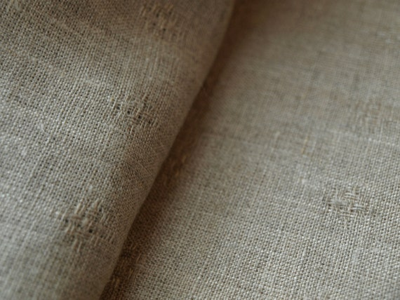 """Linen Tablecloth 56""""x57"""" Natural Grey with Pattern"""