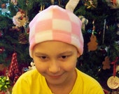 Beanies for Baldies pink and white checkerboard Fleece Beanie hat