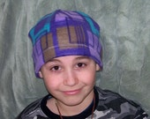 Beanies for Baldies purple, aqua and brown geometric Beanie hat