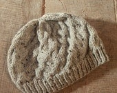 Hat hand knit, cable design (grey tweed)