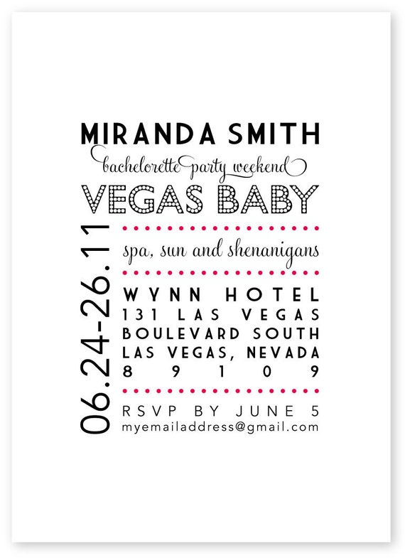 Printable Bachelorette Party Invitation - Vegas Baby