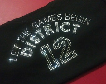 Custom Rhinestone TANK TOP Let the Games Begin District 12 Hunger Games MOVIE sparkly bling shirt