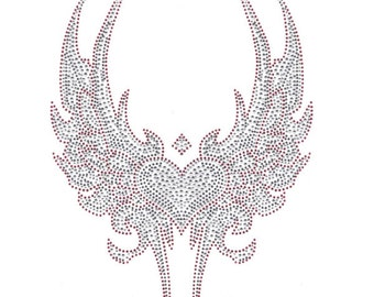 Custom Rhinestone TRANSFER Tribal Wings with Large Heart DIY Iron on hot fix Applique Sparkly Bling