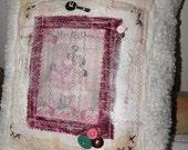 Victorian Style Mixed Media Art Decorative Chenille Pillow