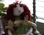 "Handmade OOAK 22"" Rag Doll and 9"" Companion Doll"