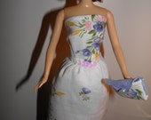 "Handmade OOAK Hankie Dress for Barbie Like Dolls ""Sequins"" Sleeveless Handkerchief Dress and Purse"