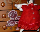 January Birthday Garnet, Valentine, or Christmas Cupcake Angel Fabric Doll Ornament Handmade OOAK