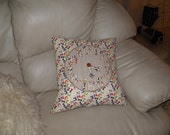 Fabric Clock Pillow with Moveable Hands Teach/Learn to Tell Time Handmade OOAK