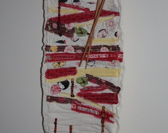 Oriental Theme Mixed Media Quilted Fabric with Beads Hanging Art