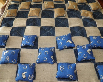 Checkers Game Handmade One of A Kind Quilted Checkerboard of Denim/Linen & Cowboy Theme Beanbag Pieces