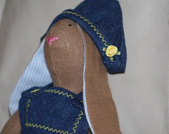 Bluejean Bunny Doll Handmade ADORABLE